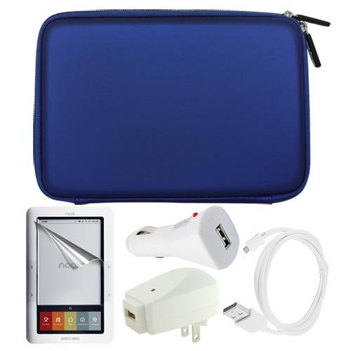 Premium Blue EVA Hard Cover Bag + Clear Screen Protector + White USB Wall Charger + USB Car Charger + Sync USB Data Cable for Barnes&Noble Nook eBook Reader