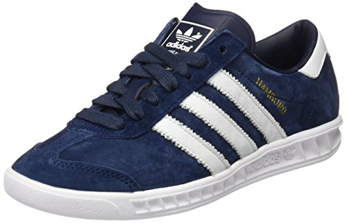 Adidas Hamburg, Scarpe da Ginnastica Basse Unisex - Adulto, Blu (Collegiate Navy/Ftwr White/Gold Met), 43 1/3 EU