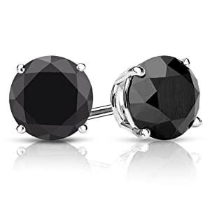 PARIKHS Round Cut Black Diamond Stud AAA Quality in White Gold (0.07ct)