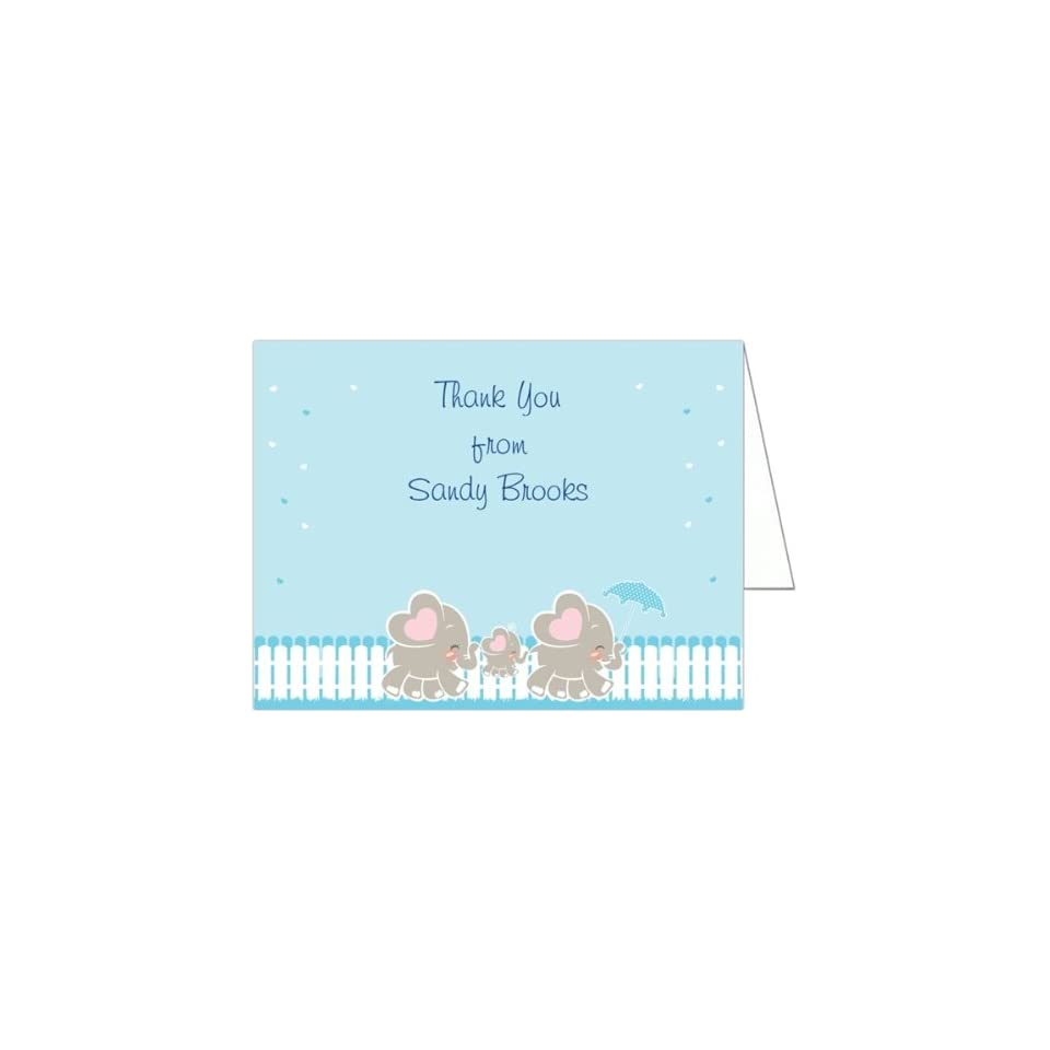Elephant Family   Boy Baby Shower Thank You Cards   Set of 20