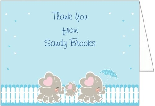 Elephant Family - Boy Baby Shower Thank You Cards - Set Of 20 front-1038308