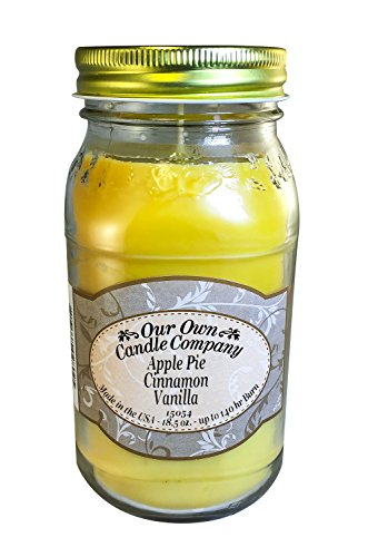 Apple Pie Cinnamon Vanilla Scented 18.5 oz Mason Jar Candle - Made in the USA by Our Own Candle Company
