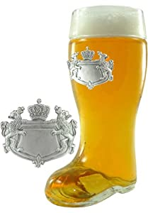1 Liter Glass Beer Boot with Engravable Pewter Bavarian Crest Badge from Oktoberfest Haus