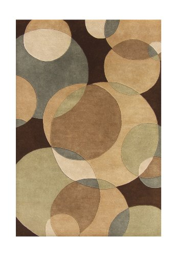 ZnZ Rugs Gallery, 20047_4x6, Hand Made Brown New Zealand Blend Wool Rug, 1, Light Brown, Sand, Light Green, 4x6'