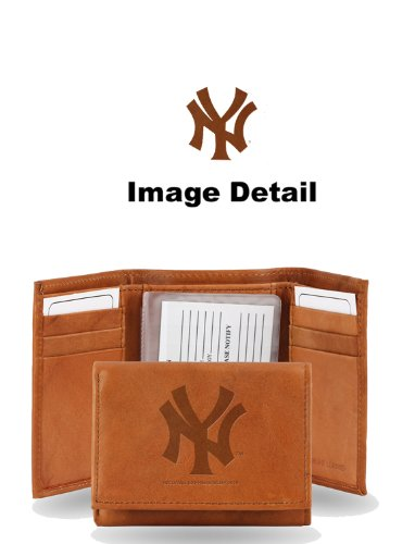 MLB New York Yankees Embossed Genuine Cowhide Leather Trifold Wallet (Ny York Yankees compare prices)