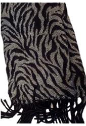 Merona Womens Black & Gray Zebra Print Scarf with fringe