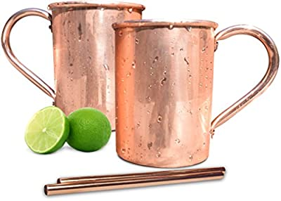 Premium Moscow Mule Copper Mugs 16 oz (set of 2) - 100% Pure Handcrafted Solid Copper - No Inner Liner - Riveted Handles - 2 BONUS Copper Straws from Classic Mules