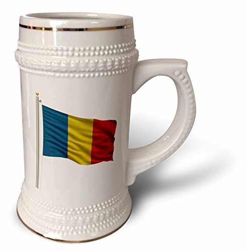 Carsten Reisinger Illustrations - Flag of Romania on a flag pole over white Romanian - 22oz Stein Mug (stn_157250_1) (Romanian Beer compare prices)