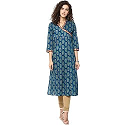 Bhama Couture Blue Printed Cotton Straight Kurta X-Large