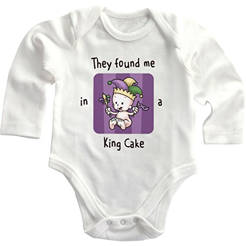 Cute Baby They Found Me In A King Cake Infant Long Sleeve Baby Bodysuit Creeper White 18 Months front-826872