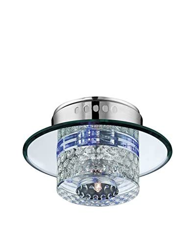 Lite Source Quotom LED Round Wall/Flush Mount Accent Light, Chrome/Mirror