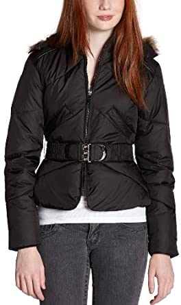 Big Chill Women's Big Chill Belted Puffer Jacket,Black,Small