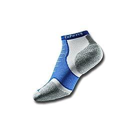 Thorlo Men\'s Experia CoolMax Mini Crew Sock, White/Royal Blue, Large