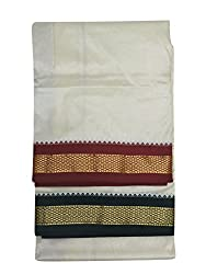 Kaushika 100% pure silk traditional Dhoti and Shalya of Ganga Jamuna Off White (DT01)
