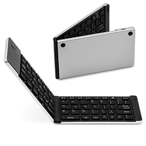 SMICK Foldable Wireless Bluetooth Keyboard for iPad, Macbook, iPhone7 etc.,F66 Silver (Macbook Keyboard And Touchpad compare prices)