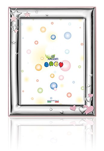 "Silver Touch USA Sterling Silver Picture Frame, Hearts and Stars, Pink, 3.5"" X 5"""