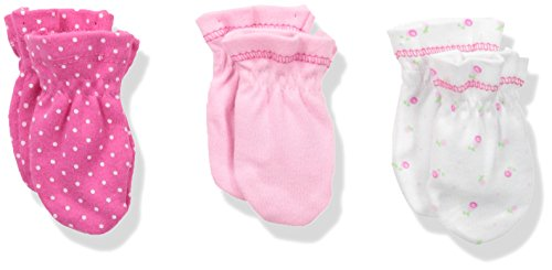 Spasilk Baby 3 Pack 100 Percent Cotton Scratch Mittens, Pink Rose, One Size