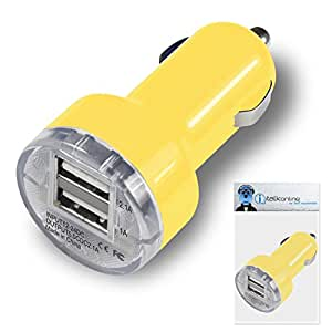 Sony Xperia i1 Yellow Dual 2.1 / 1 Amp Compact Fast Charge Car Charger Adapter