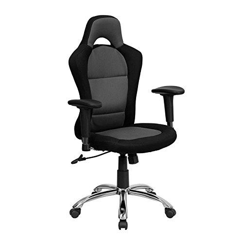 Race Car Inspired Bucket Seat Office Chair In Gray & Amp Black Mesh [Bt-9015-Gybk-Gg]