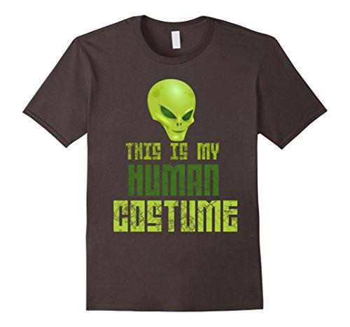 Men's This Is My Human Costume Scary Alien Halloween Tee 3XL Asphalt (Last Minute Halloween Costume)