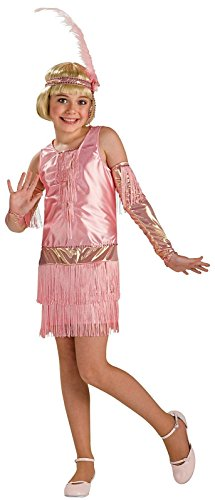 Roaring 20s Pink Flapper Teen Girl Costume Dress Charleston Fringe Medium 2-4