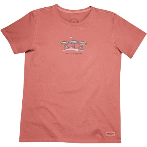 Life is good. Womens Crusher Tee – Social Network Umbrella – Sunset Coral (XL)