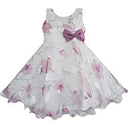 AJ54 Sunny Fashion - Vestito floreale, bambina, viola 7-8 anni