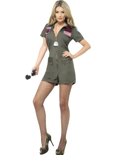 Smiffy's Top Gun Aviator Costume with Playsuit and Sunglasses - Small or Medium