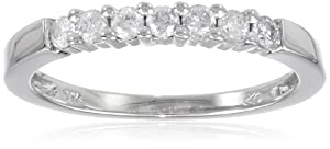 10k White Gold Round 7-Stone Diamond Ring (1/4 cttw, H-I Color, I2-I3 Clarity), Size 5