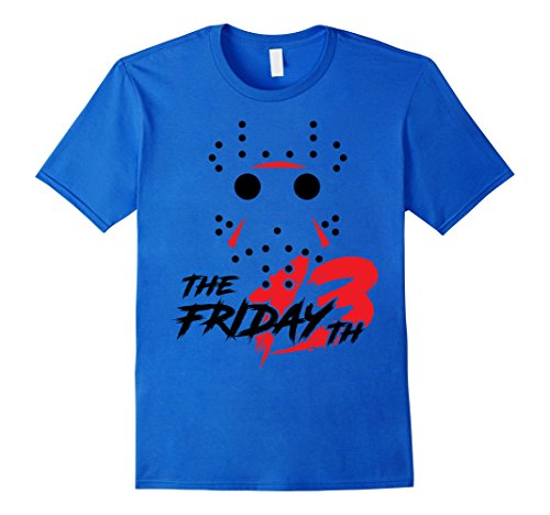 [Men's Fri 13th Jason Hockey Mask Halloween Costume Gift T-shirt Small Royal Blue] (Ideas For Homemade Group Halloween Costumes)