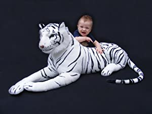 """Giant Stuffed Tiger Animal Large White Tiger Plush Large 45"""" with Tail It Measures 68"""" Big"""