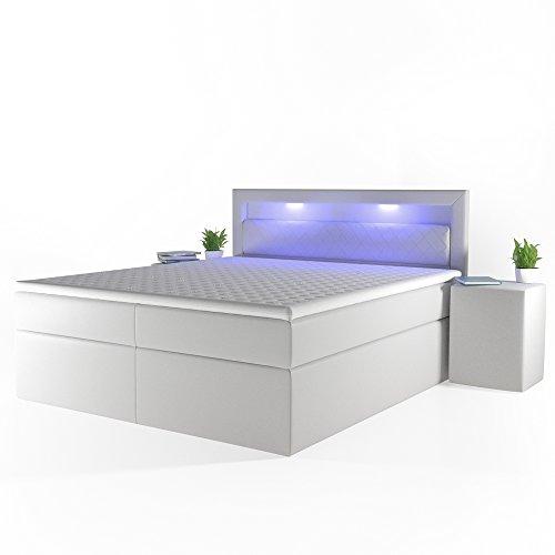 Design-Boxspringbett-LED-Doppelbett-Bett-Hotelbett-Ehebett-180x200-cm-wei