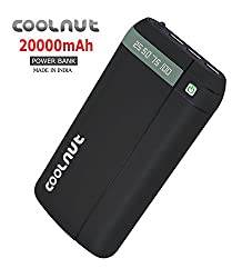 COOLNUT 20000mAh Power Bank For MI, Samsung, Letv Other Smartphones (Black)