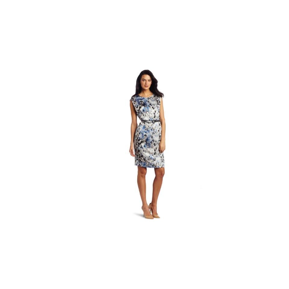 AK Anne Klein Womens Petite Camouflage Print Dress, Cobalt Multi, 10 Petite