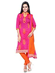 Kanchnar Women's Pink and Orange Chanderi Cotton Embroidered Casual Wear Dress Material,Navratri Festival Clothing Diwali Gift,Great Indian Sale
