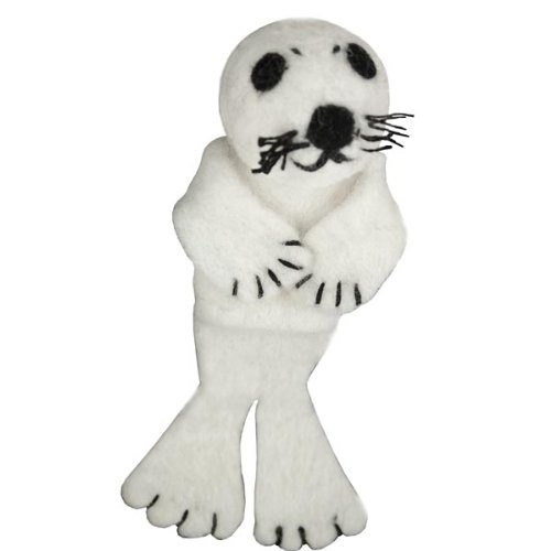 Seal Wild Woolie Finger Puppet, Ornament or Pen Pal - 1