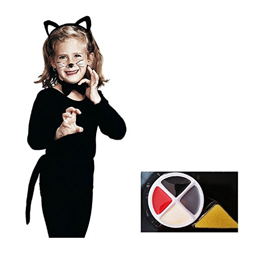 Halloween Cat Costume Accessories for Girls and Assorted Face Paint, 2 Items