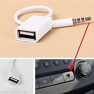 Mofun 3.5mm Auto AUX Audio Plug zu USB 2.0 Buchse Konverter Kabel Weiß