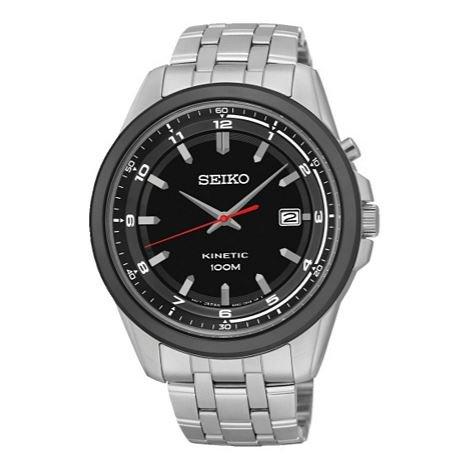 Black Easy To Read Dial Seiko Men's Kinetic Stainless Steel Bracelet Watch