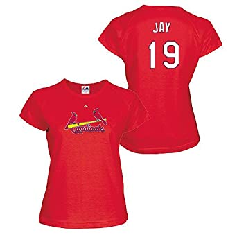 Jon Jay St Louis Cardinals Red Ladies Player T-Shirt by Majestic by Majestic
