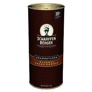 Scharffen Berger Natural Unsweetened Cocoa Powder 6 Ounce Canister by Scharffen Berger