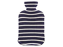 Pluchi Strepen Navy & Natural Knitted Hot Water Bottle Cover