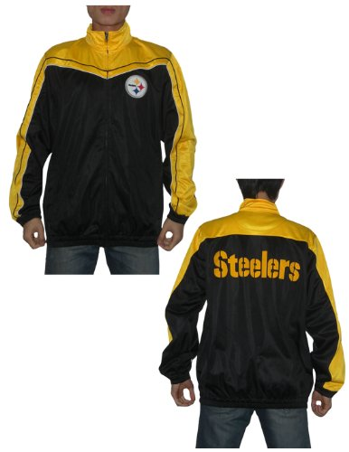 NFL Pittsburgh Steelers Mens Athletic Zip-Up Pro Team Track Jacket Medium Black at Amazon.com