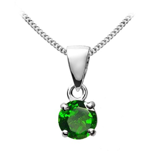 Stunning 9 ct White Gold Ladies Solitaire Pendant + Chain with Chrome Diopside 0.30 Carat - 9mm*4mm