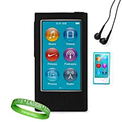 Dreamwireless Black Ipod Case + Ipod Nano 7 Screen Protector + Ipod Nano 7 Compatible Earbud Earphones + Vangoddy Brand Wrist Band