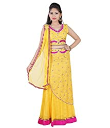 Mint Yellow Girls Lehenga Choli