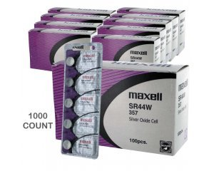 1000 pcs Maxell SR44W SR44 357 V357 Silver Oxide Watch Battery