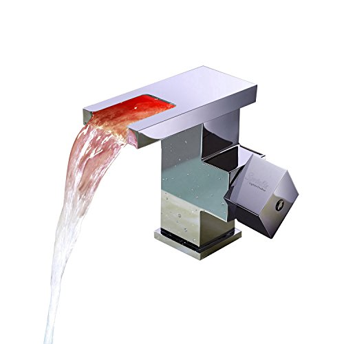 Sprinkle® Square Spout Contemporary Color Changing LED Bathroom Sink Faucet Chrome Finish Waterfall Bath Tub Taps Shower Mixer single hole lavatory bar water flow powered led mixer taps vessel sink bathtub plumbing fixtures