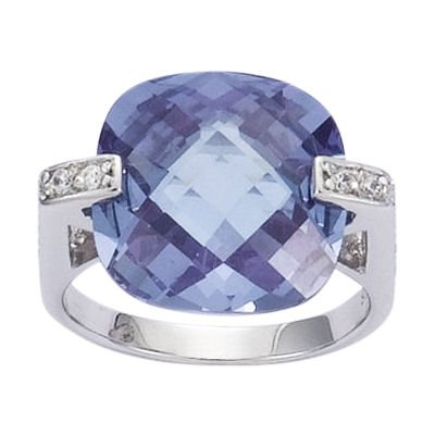 Sterling Silver Violet Lavender & Clear Cubic Zirconia Solitaire Engagement Band Ring - Size K
