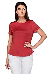 KAARYAH - Deep Red Cap Sleeves Relaxed Fit Top